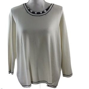Alfred Dunner Scoop Neck Top Faceted Bead Detail